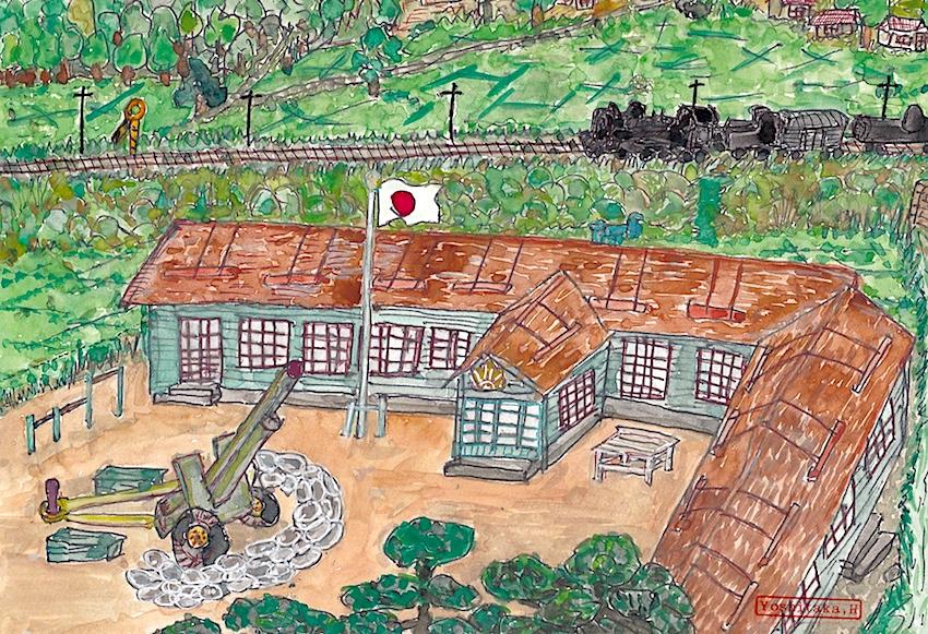 学校の校庭に据えられた高射砲(絵・張山喜隆)