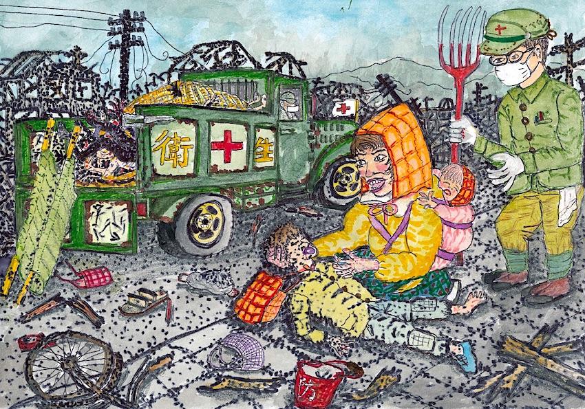 死体搬送トラックから息子を引きずり出す(絵:張山喜隆)