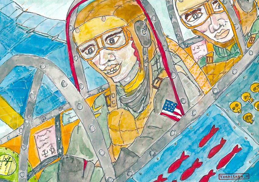 戦闘機操縦士の顔(絵:張山喜隆)