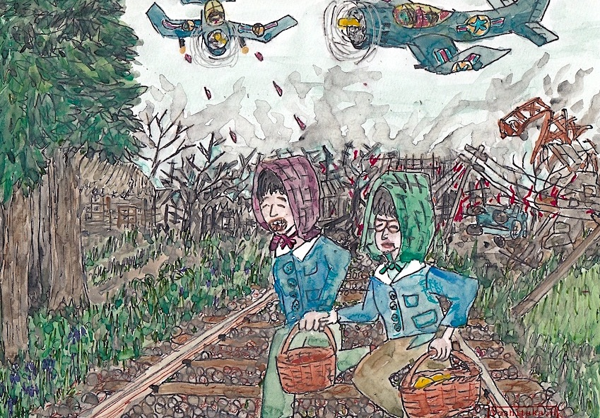 家に帰る途中、敵機に襲われる(絵:張山喜隆)
