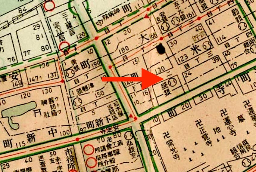 写真3 盛岡銀行青森支店位置(昭和11年)