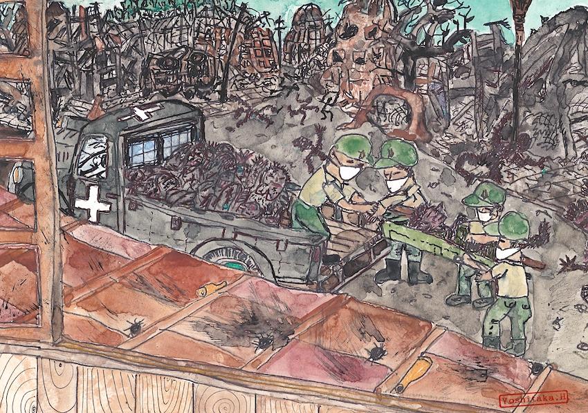 焼死体がトラックで運ばれる(絵:張山喜隆)