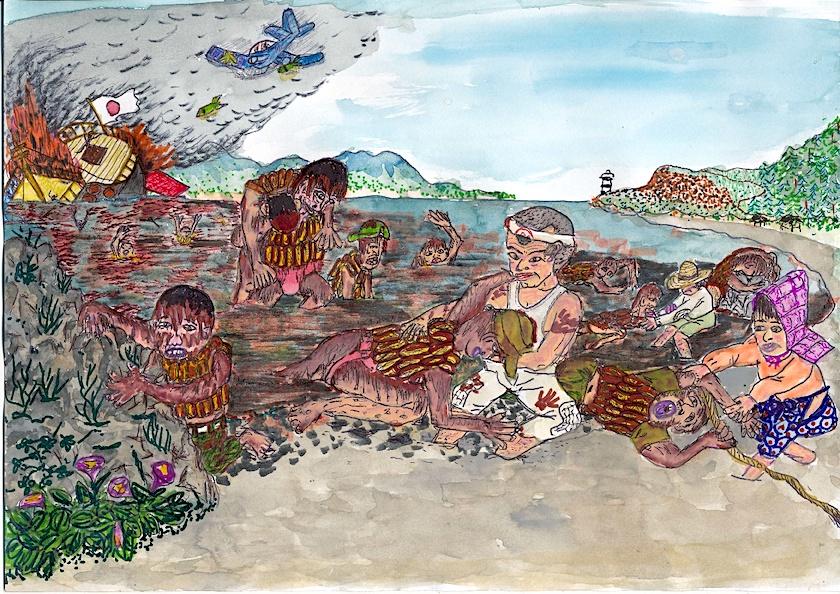 袰月海岸に泳いで来た、油まみれの兵隊たち(絵:張山喜隆)