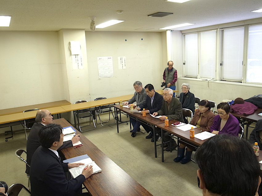 青森市岸田理事への要請風景