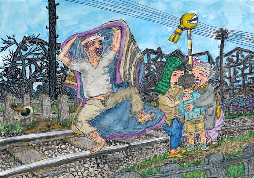 線路の上で次男を発見(Discover second son on track)