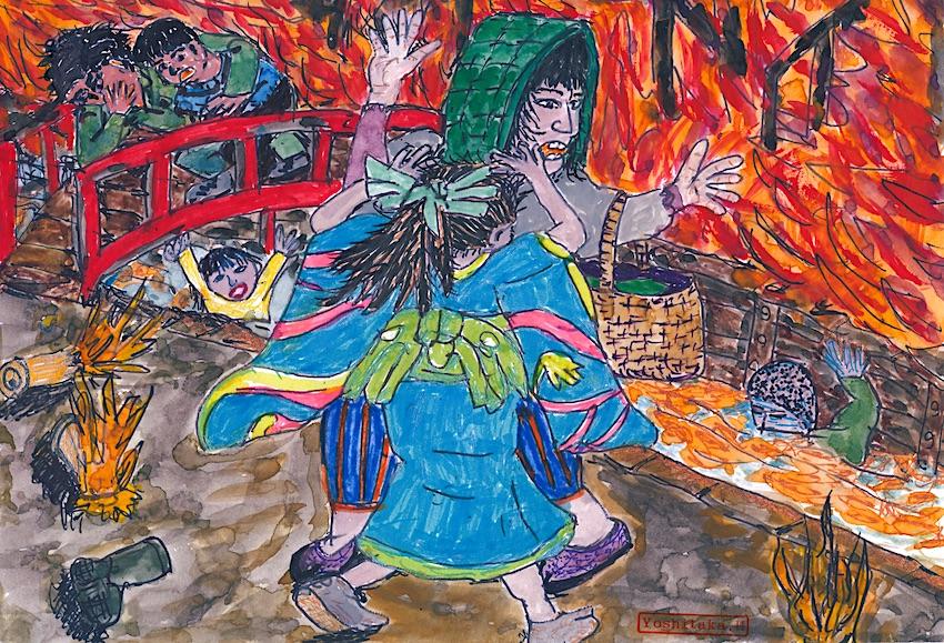 青森市柳町の炎の中を逃げ惑う人々