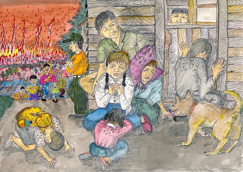 幸畑村まで逃げてきた人たち(People who ran away to Koubata village)