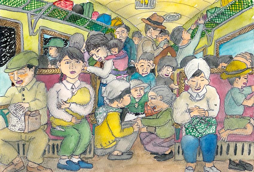 青森へ向かう満員列車の中