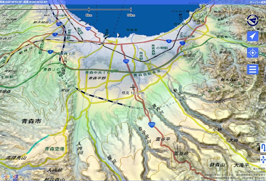 青森市内地形図(「スーパー地形」より)