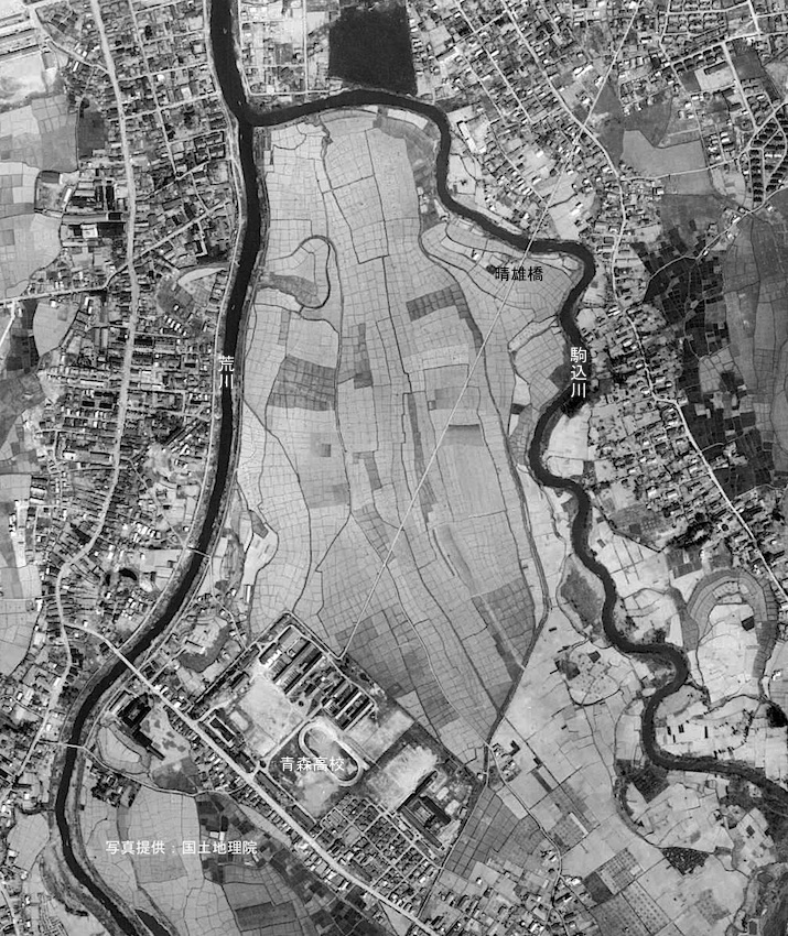 昭和37年の桜川地区航空写真(写真提供:国土地理院)