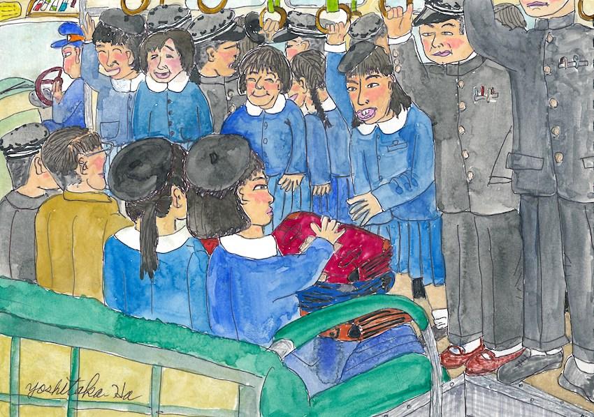 青森東高校スクールバス車内の様子