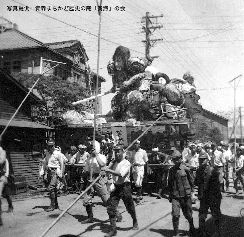 写真5 県造船浪打工場ねぶた 北川金三郎制作  「御所五郎丸と曽我五郎」