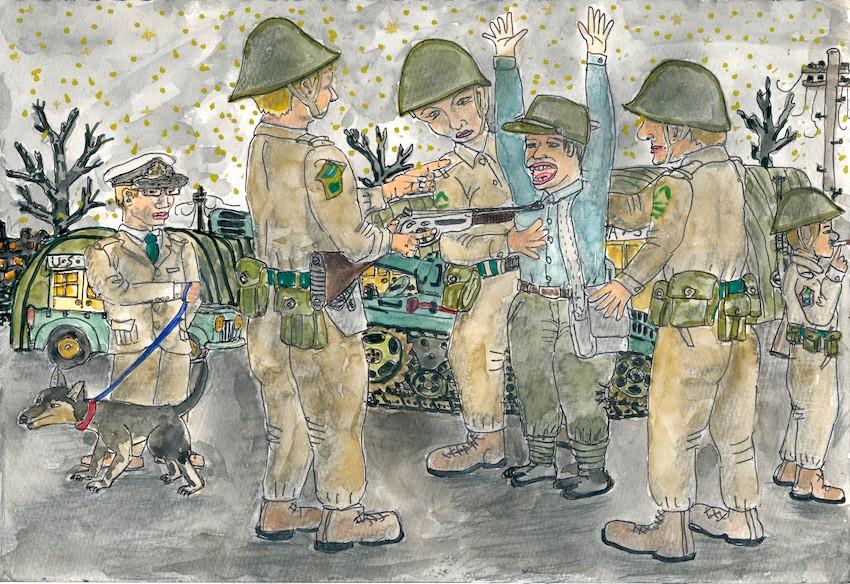 青森県庁前での米兵の取り調べ