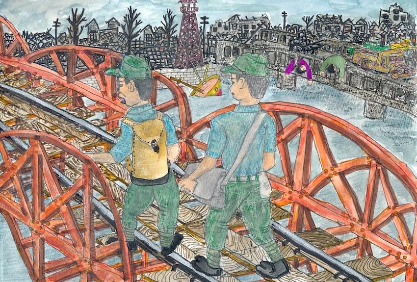 堤川鉄橋の上を渡る