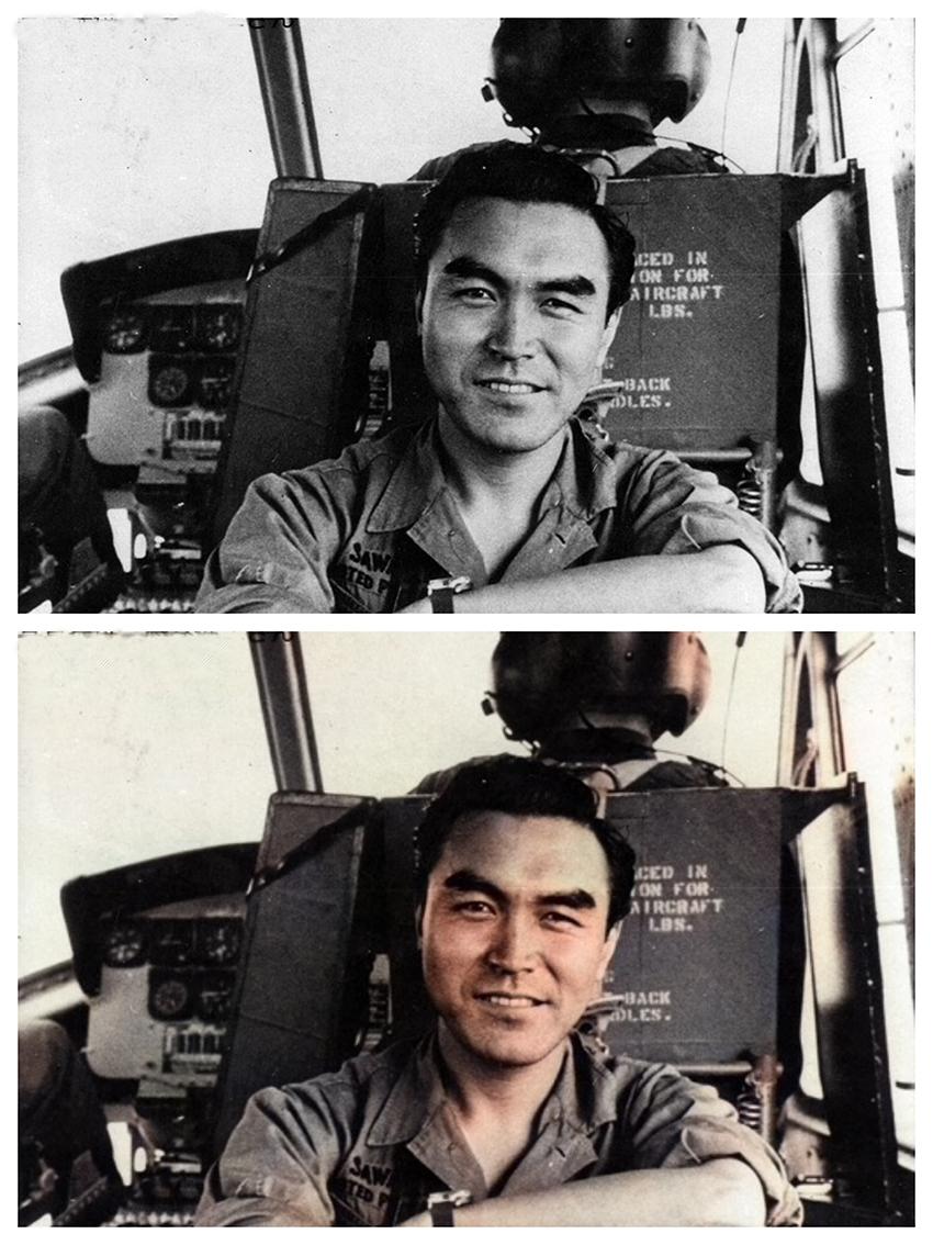 戦場のヘリコプター内の沢田教一 撮影日等不詳