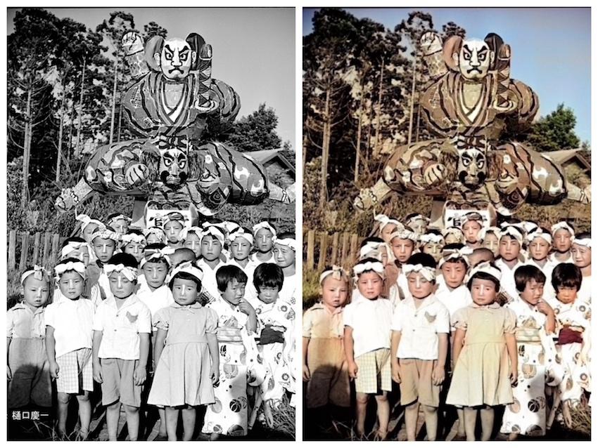 写真4 青森ねぶたと子供達 青森市内 昭和28年